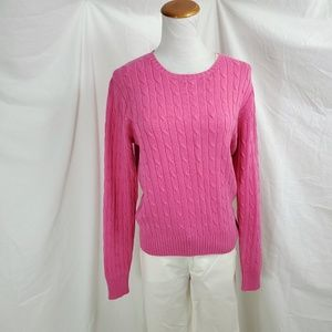 J. McLaughlin Sweater M Crew Neck Pink Cable Knit